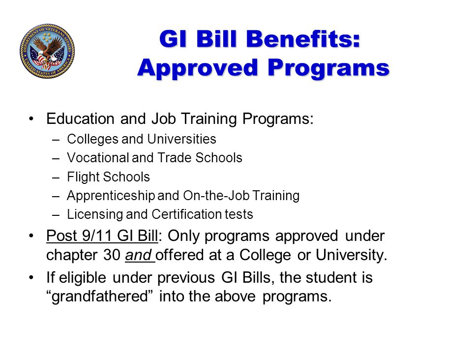 A Guide to Post 9/11GI Bill Educational Benefits Illinois Department ...