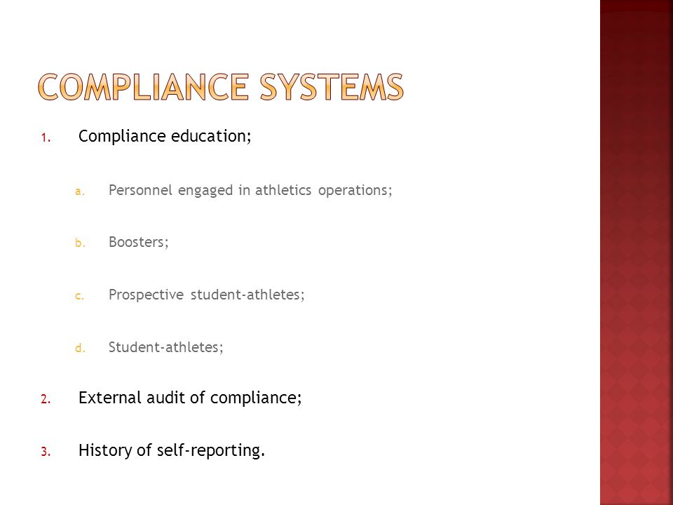 1. Compliance education; a. Personnel engaged in athletics operations; b.