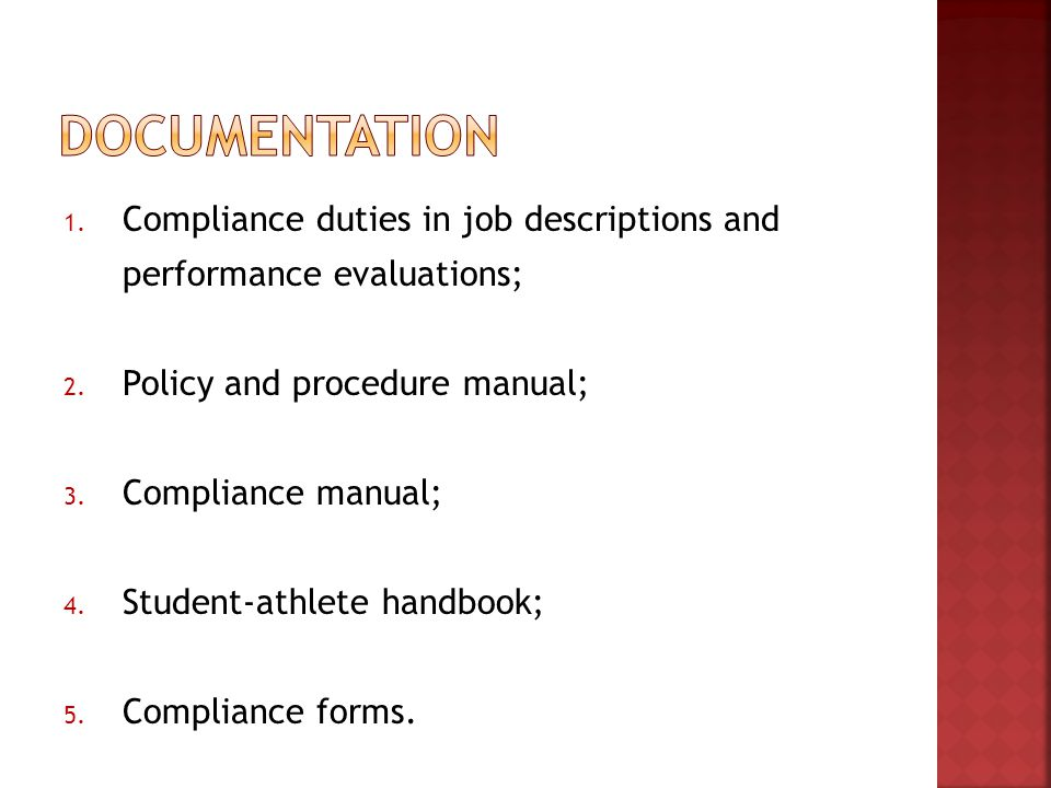 1. Compliance duties in job descriptions and performance evaluations; 2.