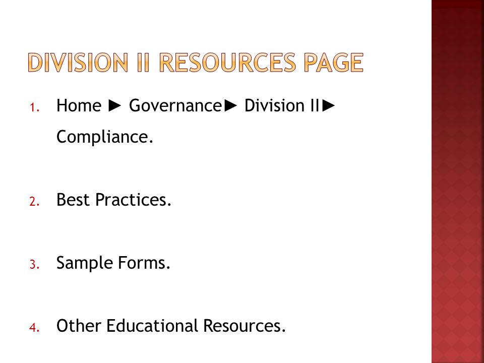 1. Home ► Governance ► Division II ► Compliance. 2.