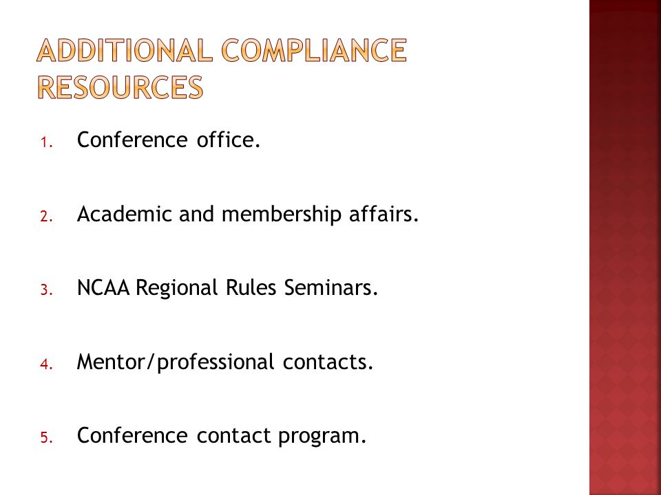 1. Conference office. 2. Academic and membership affairs.