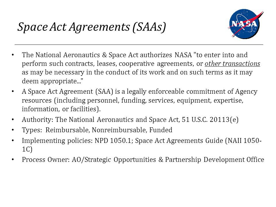 The Intersection Of Procurement Contracts And Space Act Agreements A