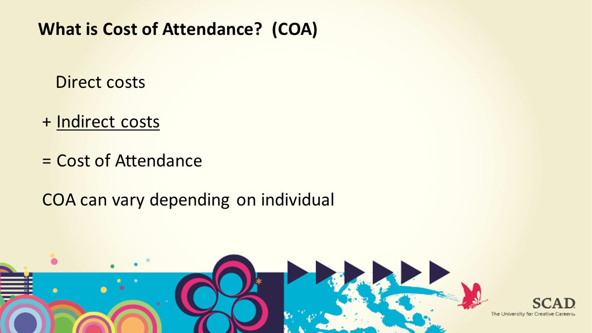 Direct costs + Indirect costs = Cost of Attendance COA can vary depending on individual What is Cost of Attendance.