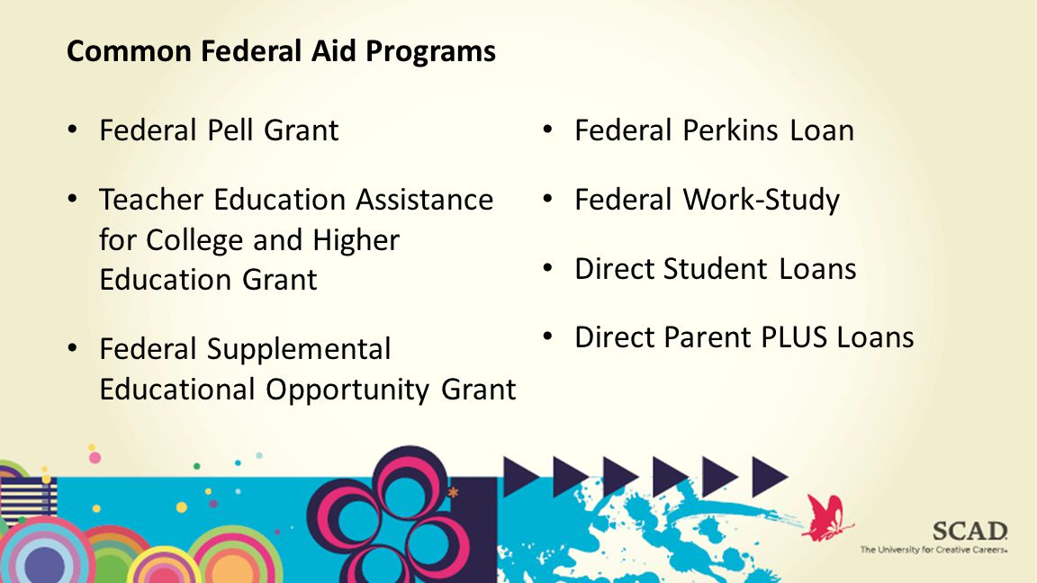Federal Pell Grant Teacher Education Assistance for College and Higher Education Grant Federal Supplemental Educational Opportunity Grant Common Federal Aid Programs Federal Perkins Loan Federal Work-Study Direct Student Loans Direct Parent PLUS Loans