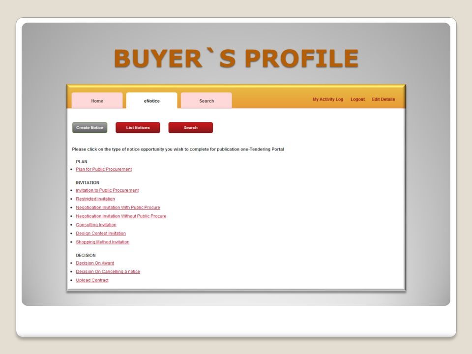 BUYER`S PROFILE