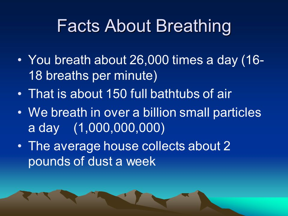Facts About Breathing You breath about 26,000 times a day ( breaths per minute) That is about 150 full bathtubs of air We breath in over a billion small particles a day (1,000,000,000) The average house collects about 2 pounds of dust a week