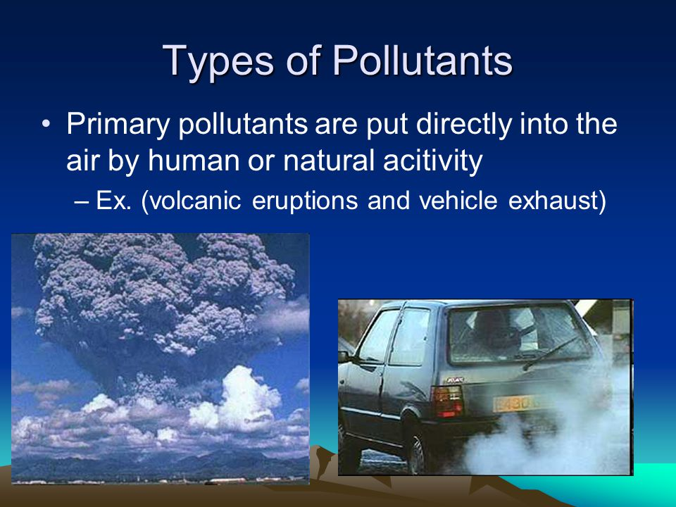 Types of Pollutants Primary pollutants are put directly into the air by human or natural acitivity –Ex.