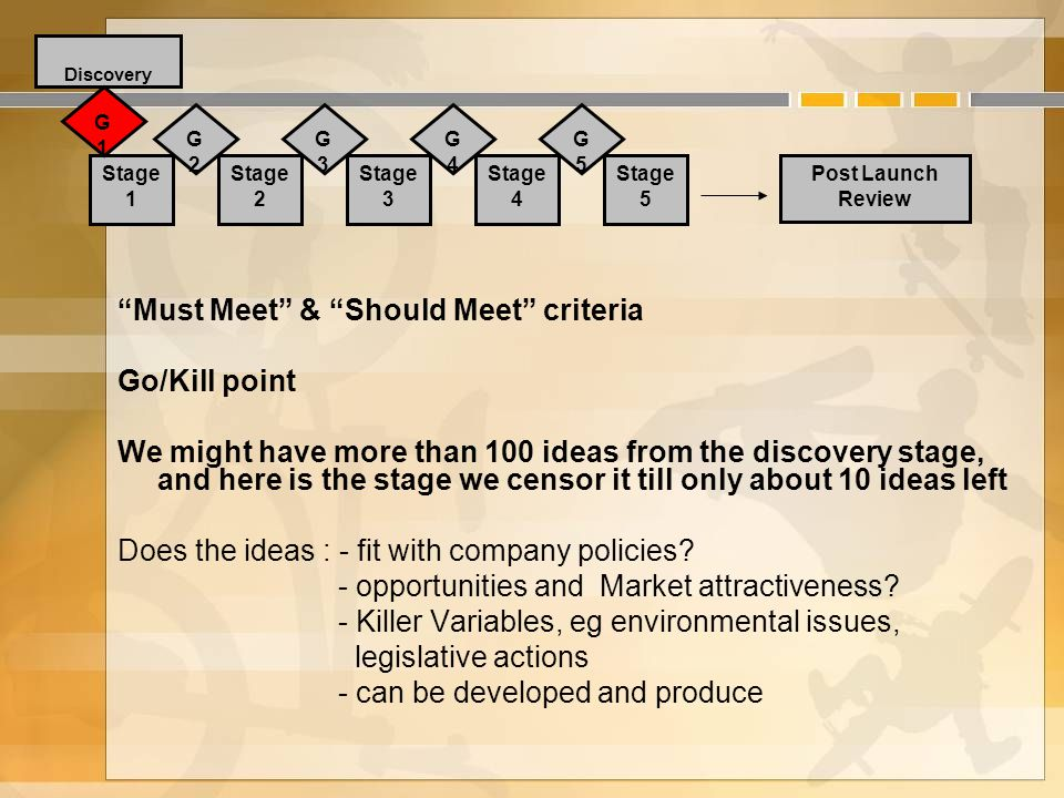 Must Meet & Should Meet criteria Go/Kill point We might have more than 100 ideas from the discovery stage, and here is the stage we censor it till only about 10 ideas left Does the ideas : - fit with company policies.