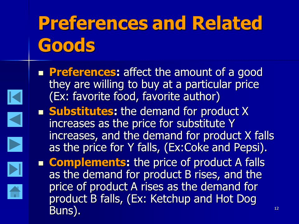 12 Preferences and Related Goods Preferences: affect the amount of a good they are willing to buy at a particular price (Ex: favorite food, favorite author) Preferences: affect the amount of a good they are willing to buy at a particular price (Ex: favorite food, favorite author) Substitutes: the demand for product X increases as the price for substitute Y increases, and the demand for product X falls as the price for Y falls, (Ex:Coke and Pepsi).