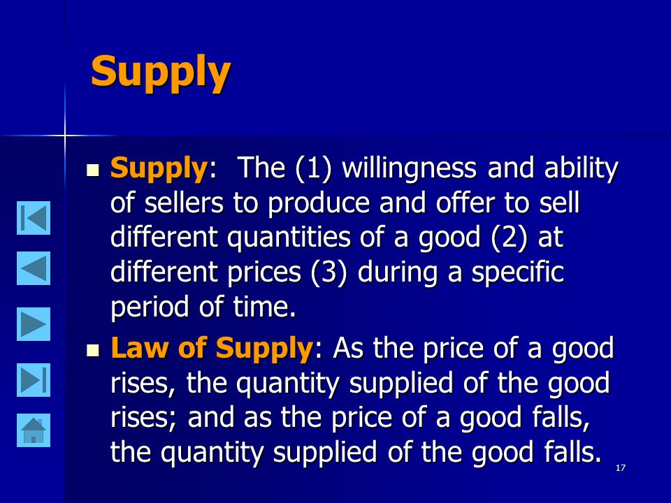 17 Supply Supply: The (1) willingness and ability of sellers to produce and offer to sell different quantities of a good (2) at different prices (3) during a specific period of time.