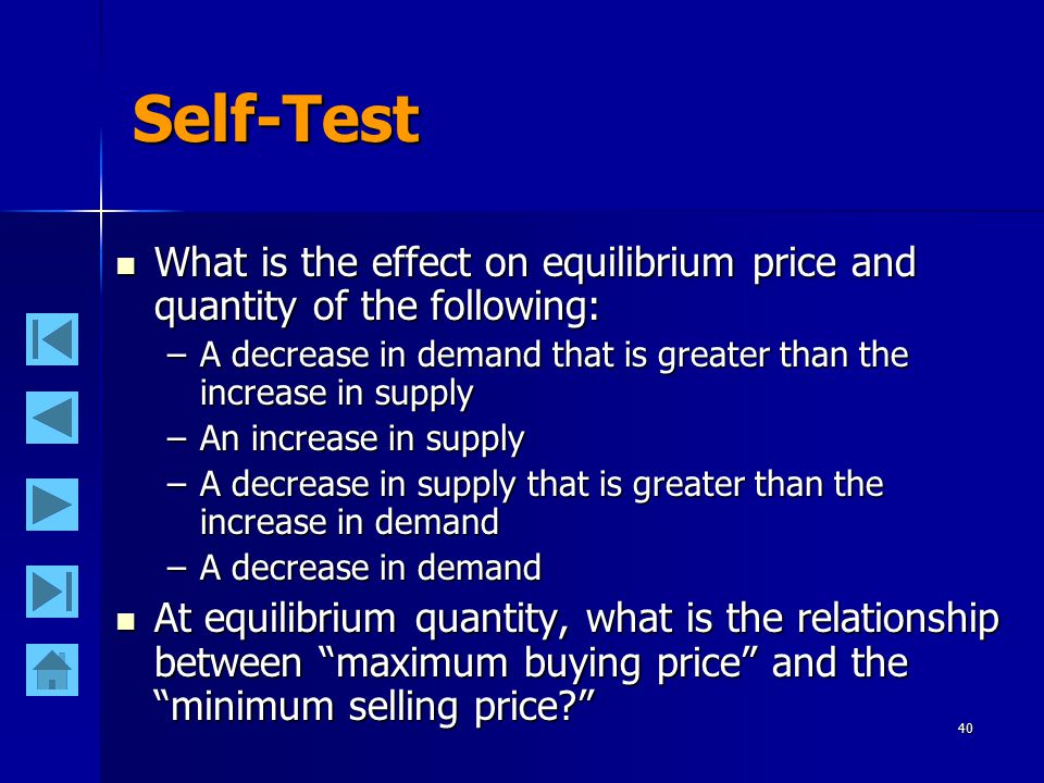 40 Self-Test What is the effect on equilibrium price and quantity of the following: What is the effect on equilibrium price and quantity of the following: –A decrease in demand that is greater than the increase in supply –An increase in supply –A decrease in supply that is greater than the increase in demand –A decrease in demand At equilibrium quantity, what is the relationship between maximum buying price and the minimum selling price At equilibrium quantity, what is the relationship between maximum buying price and the minimum selling price