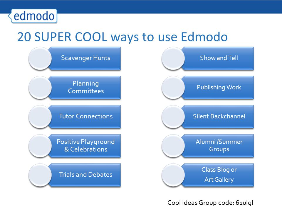 20 SUPER COOL ways to use Edmodo Scavenger Hunts Planning Committees Tutor Connections Positive Playground & Celebrations Trials and Debates Show and Tell Publishing Work Silent Backchannel Alumni /Summer Groups Class Blog or Art Gallery Cool Ideas Group code: 61ulgl