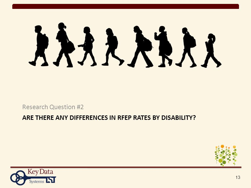 ARE THERE ANY DIFFERENCES IN RFEP RATES BY DISABILITY Research Question #2 13