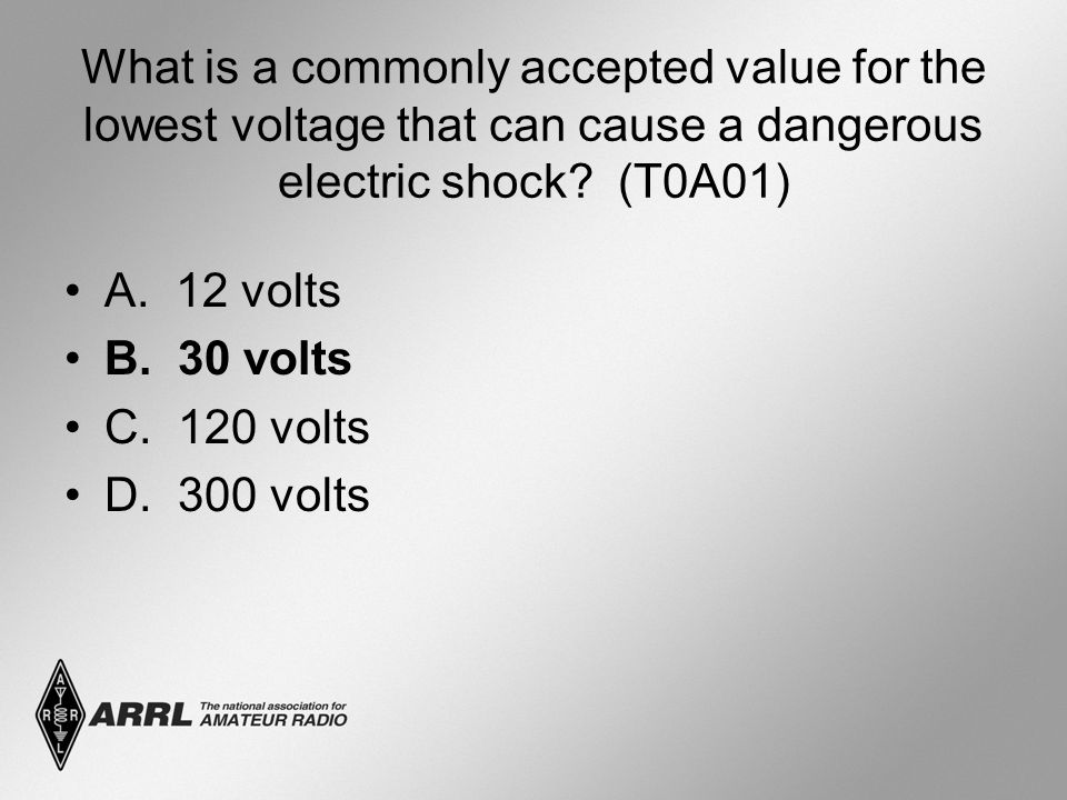 What is a commonly accepted value for the lowest voltage that can cause a dangerous electric shock.