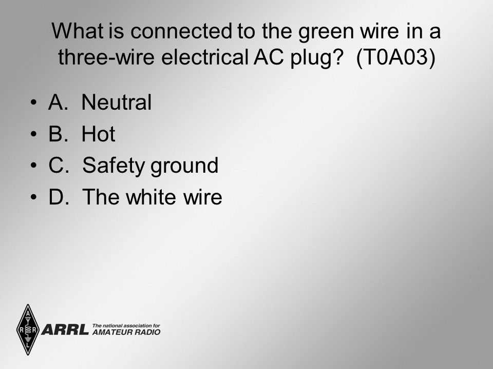 What is connected to the green wire in a three-wire electrical AC plug.