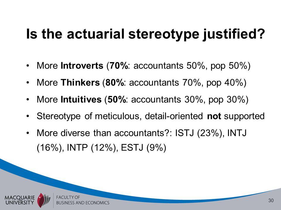 1 Personality Types of Actuaries Associate Professor Leonie