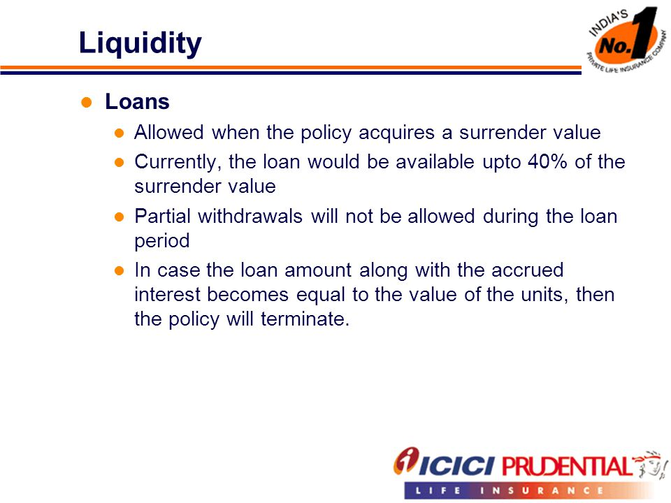 Liquidity Loans Allowed when the policy acquires a surrender value Currently, the loan would be available upto 40% of the surrender value Partial withdrawals will not be allowed during the loan period In case the loan amount along with the accrued interest becomes equal to the value of the units, then the policy will terminate.