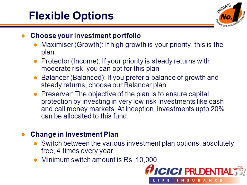 Flexible Options Choose your investment portfolio Maximiser (Growth): If high growth is your priority, this is the plan Protector (Income): If your priority is steady returns with moderate risk, you can opt for this plan Balancer (Balanced): If you prefer a balance of growth and steady returns, choose our Balancer plan Preserver: The objective of the plan is to ensure capital protection by investing in very low risk investments like cash and call money markets.