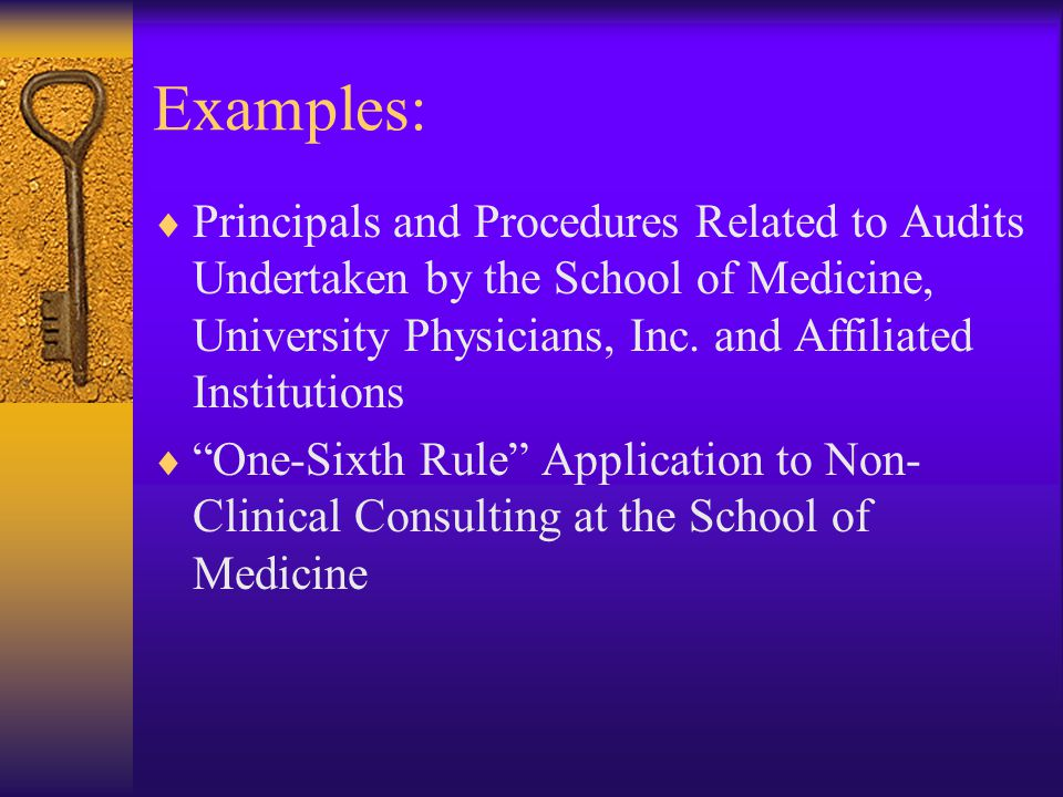Examples:  Principals and Procedures Related to Audits Undertaken by the School of Medicine, University Physicians, Inc.