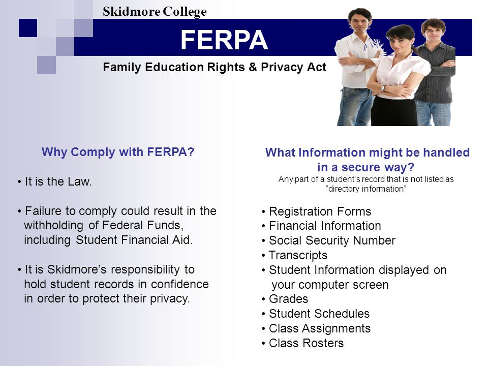 FERPA Skidmore College Family Education Rights & Privacy Act Why Comply with FERPA.