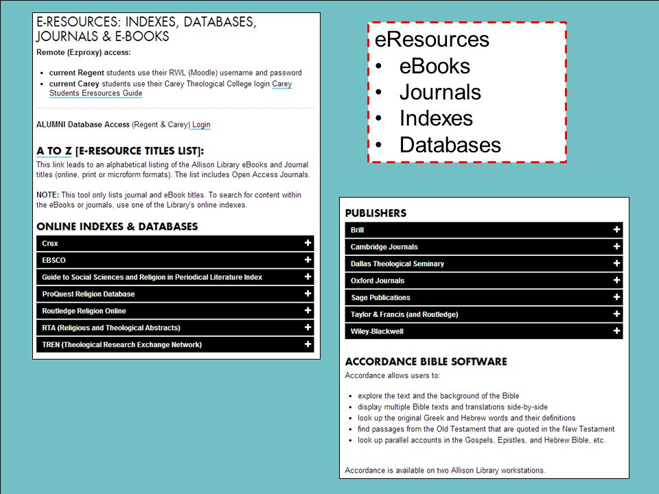 eResources eBooks Journals Indexes Databases