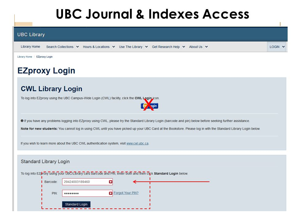 UBC Journal & Indexes Access X