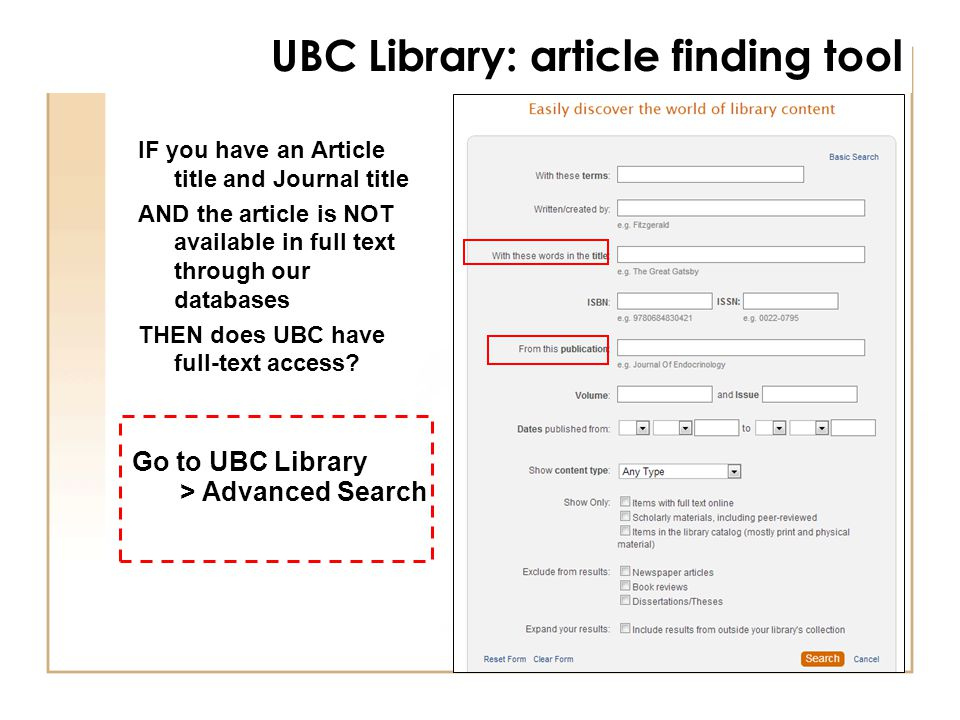 IF you have an Article title and Journal title AND the article is NOT available in full text through our databases THEN does UBC have full-text access.