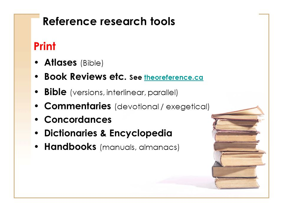 Reference research tools Print Atlases (Bible) Book Reviews etc.