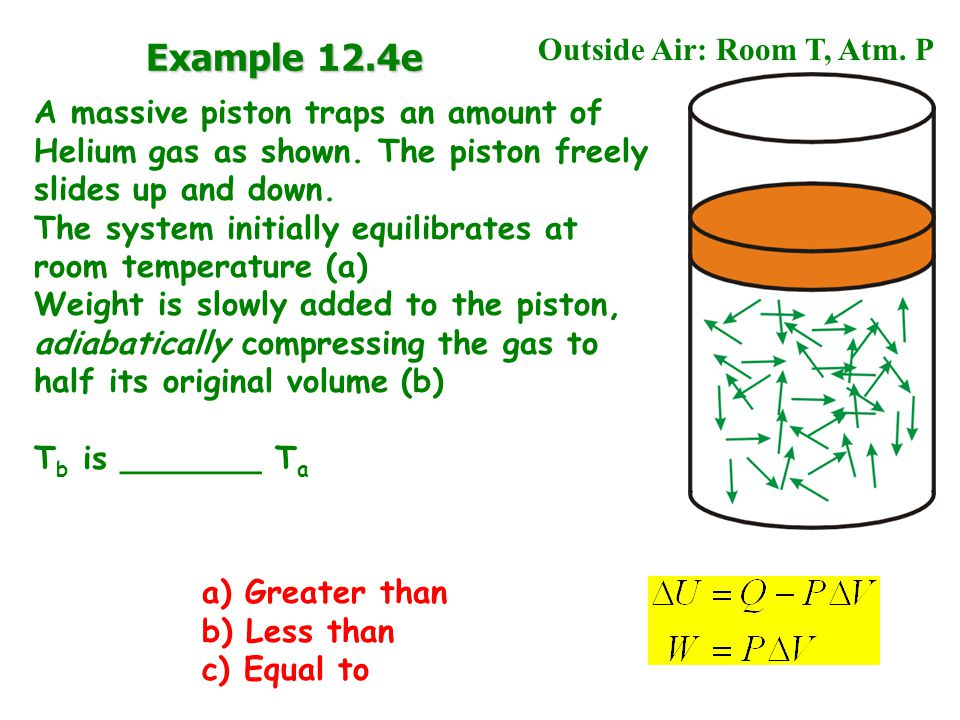 A massive piston traps an amount of Helium gas as shown.