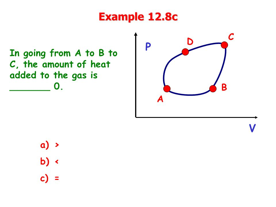 Example 12.8c In going from A to B to C, the amount of heat added to the gas is _______ 0.