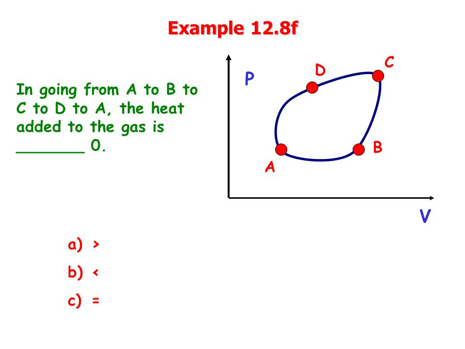Example 12.8f In going from A to B to C to D to A, the heat added to the gas is _______ 0.
