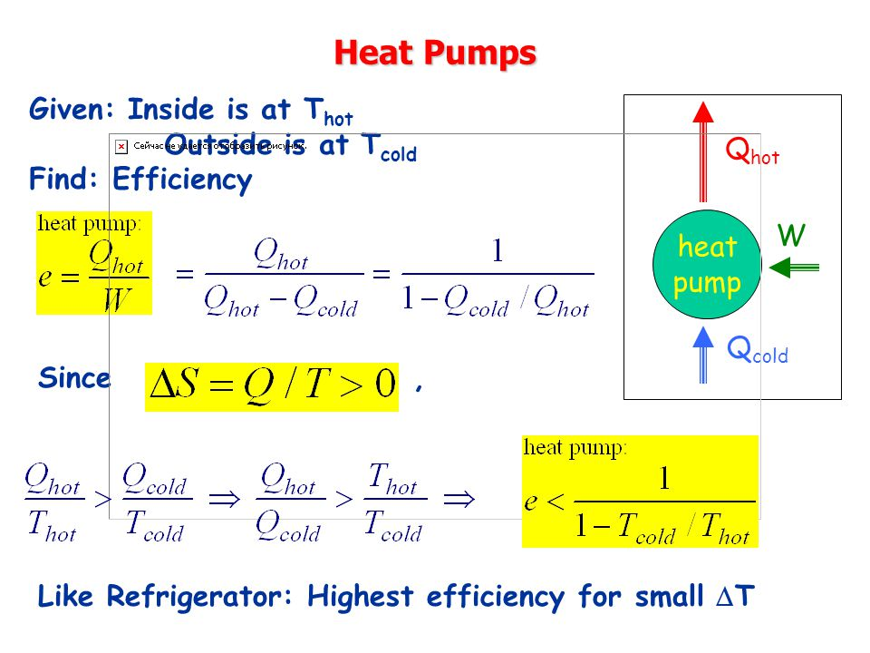 Heat Pumps Q hot heat pump Q cold W Given: Inside is at T hot Outside is at T cold Find: Efficiency Since, Like Refrigerator: Highest efficiency for small  T