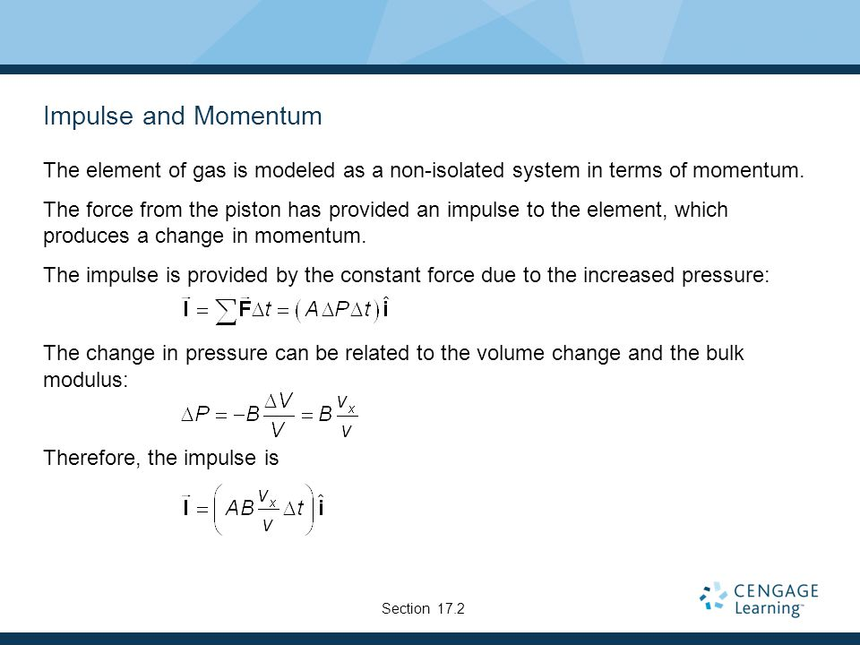 Impulse and Momentum The element of gas is modeled as a non-isolated system in terms of momentum.