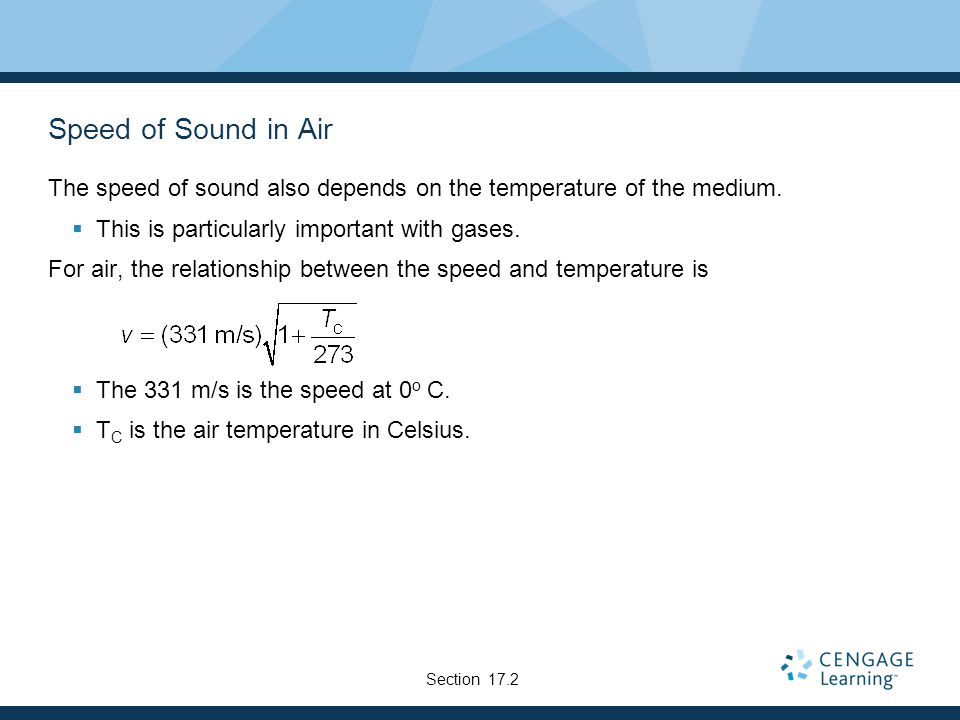 Speed of Sound in Air The speed of sound also depends on the temperature of the medium.