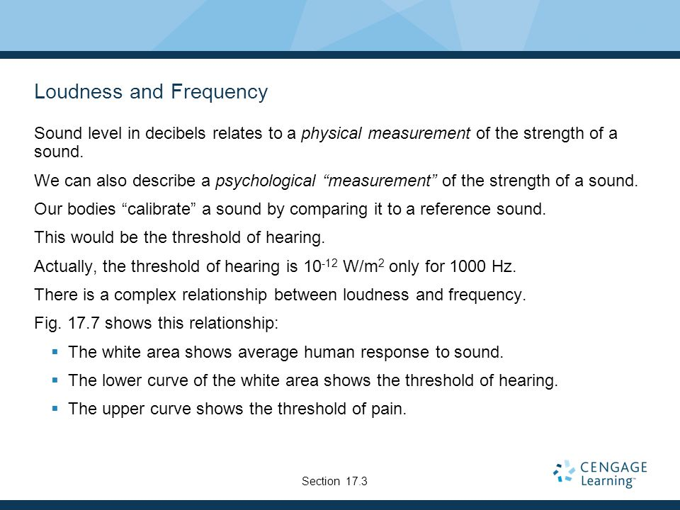 Loudness and Frequency Sound level in decibels relates to a physical measurement of the strength of a sound.