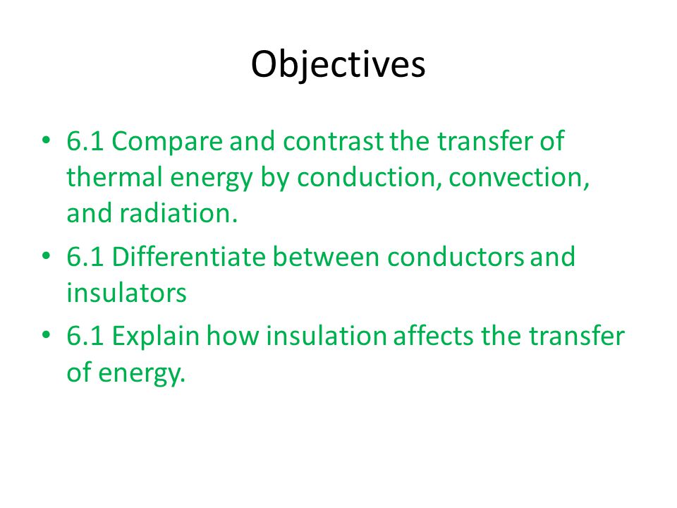 Objectives 6.1 Compare and contrast the transfer of thermal energy by conduction, convection, and radiation.