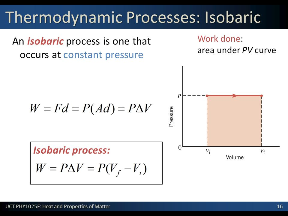 16 UCT PHY1025F: Heat and Properties of Matter An isobaric process is one that occurs at constant pressure Isobaric process: Work done: area under PV curve Thermodynamic Processes: Isobaric
