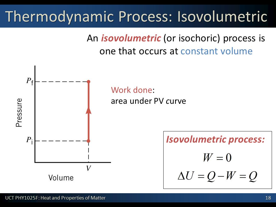 18 UCT PHY1025F: Heat and Properties of Matter Isovolumetric process: An isovolumetric (or isochoric) process is one that occurs at constant volume Work done: area under PV curve Thermodynamic Process: Isovolumetric