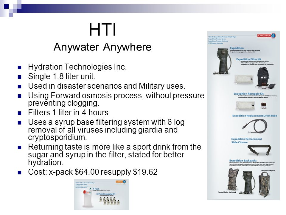 HTI Anywater Anywhere Hydration Technologies Inc. Single 1.8 liter unit.