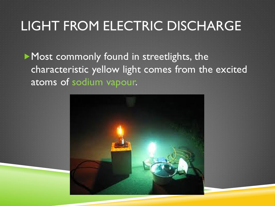 LIGHT FROM ELECTRIC DISCHARGE  Most commonly found in streetlights, the characteristic yellow light comes from the excited atoms of sodium vapour.