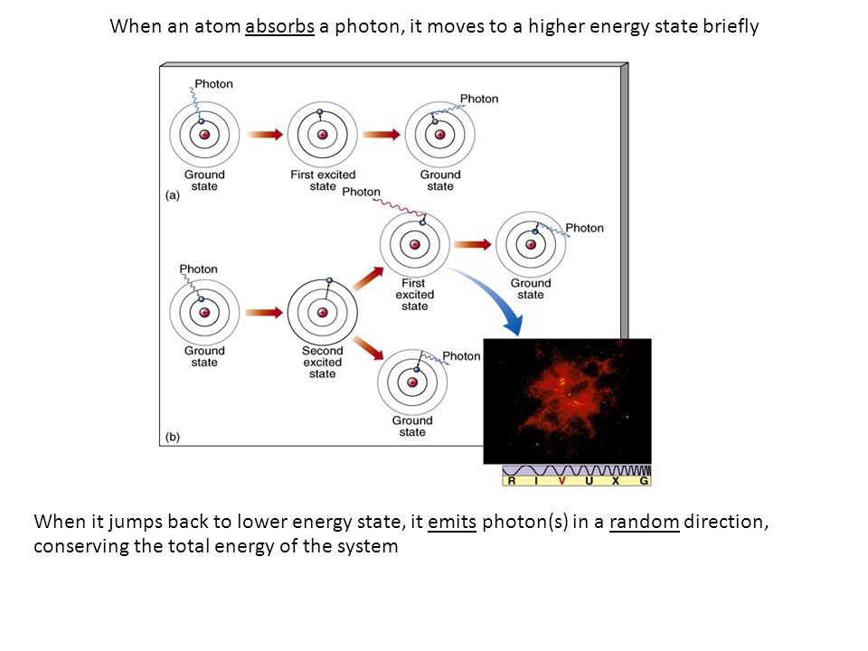 When an atom absorbs a photon, it moves to a higher energy state briefly When it jumps back to lower energy state, it emits photon(s) in a random direction, conserving the total energy of the system