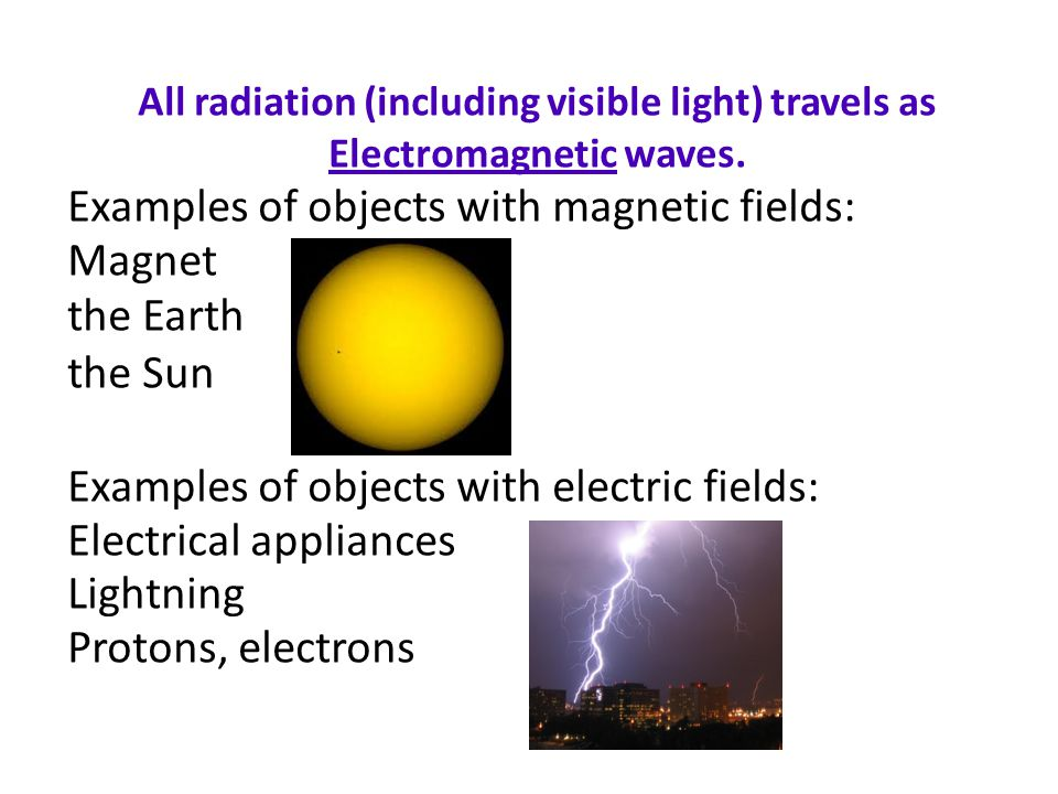 All radiation (including visible light) travels as Electromagnetic waves.