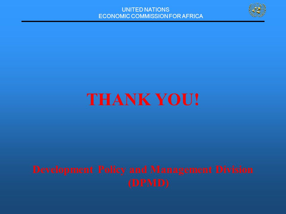 UNITED NATIONS ECONOMIC COMMISSION FOR AFRICA THANK YOU.