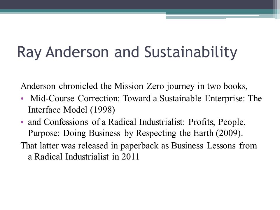 Ray Anderson Ray Anderson Was Founder And Chairman Of Interface Inc