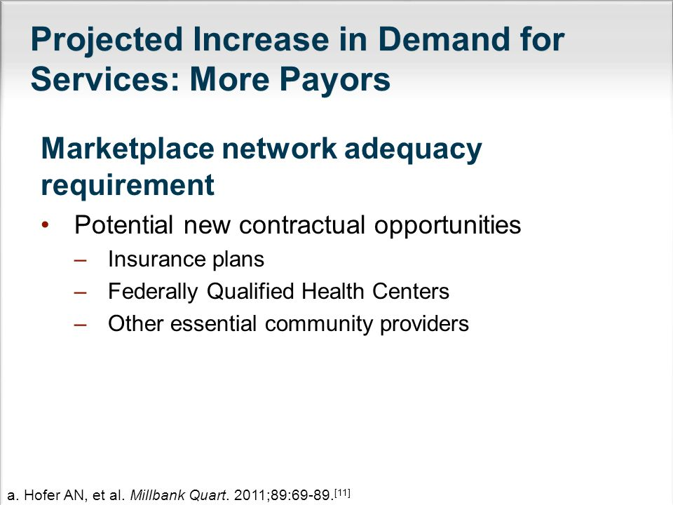 Projected Increase in Demand for Services: More Payors Marketplace network adequacy requirement Potential new contractual opportunities –Insurance plans –Federally Qualified Health Centers –Other essential community providers a.