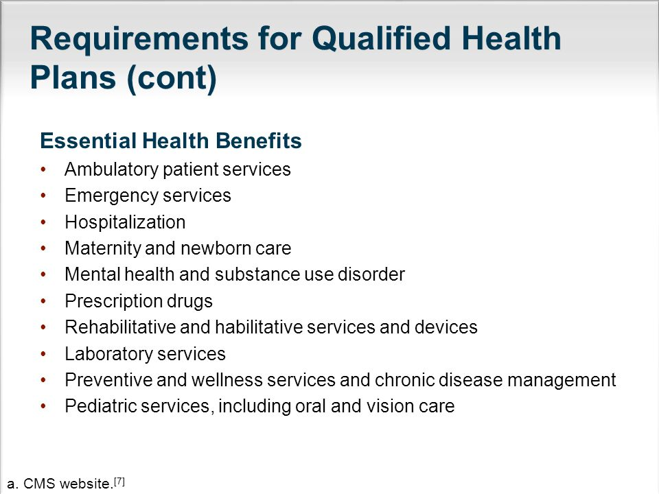 Requirements for Qualified Health Plans (cont) Essential Health Benefits Ambulatory patient services Emergency services Hospitalization Maternity and newborn care Mental health and substance use disorder Prescription drugs Rehabilitative and habilitative services and devices Laboratory services Preventive and wellness services and chronic disease management Pediatric services, including oral and vision care a.