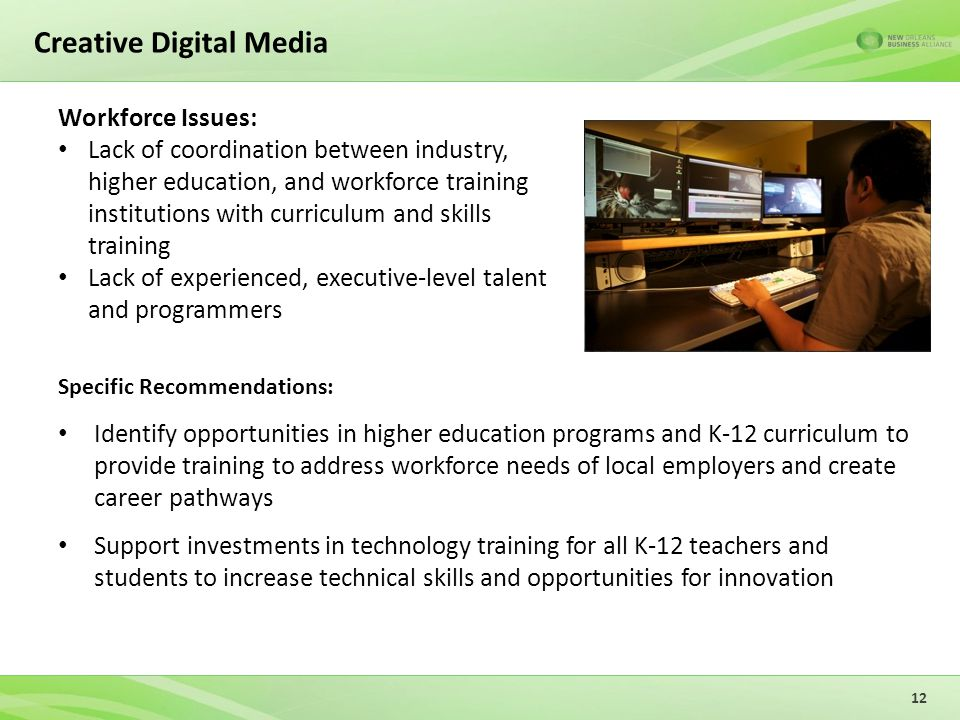 Creative Digital Media Specific Recommendations: Identify opportunities in higher education programs and K-12 curriculum to provide training to address workforce needs of local employers and create career pathways Support investments in technology training for all K-12 teachers and students to increase technical skills and opportunities for innovation 12 Workforce Issues: Lack of coordination between industry, higher education, and workforce training institutions with curriculum and skills training Lack of experienced, executive-level talent and programmers