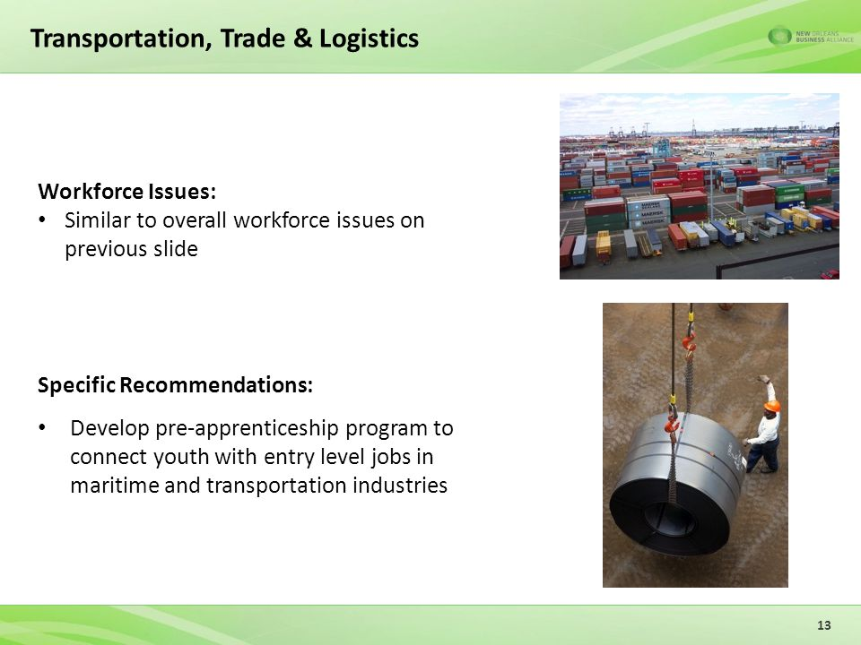 Transportation, Trade & Logistics Specific Recommendations: Develop pre-apprenticeship program to connect youth with entry level jobs in maritime and transportation industries 13 Workforce Issues: Similar to overall workforce issues on previous slide