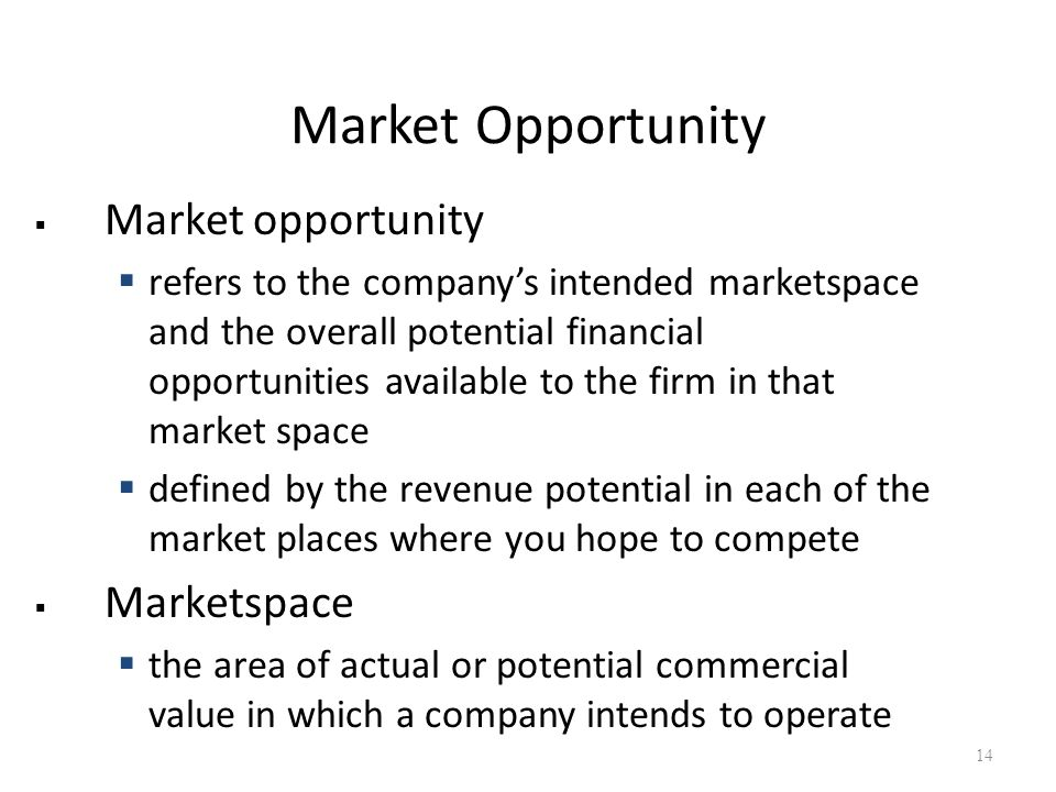Market Opportunity  Market opportunity  refers to the company's intended marketspace and the overall potential financial opportunities available to the firm in that market space  defined by the revenue potential in each of the market places where you hope to compete  Marketspace  the area of actual or potential commercial value in which a company intends to operate 14
