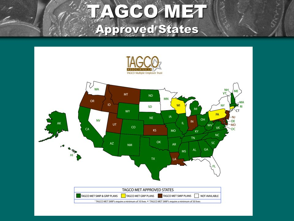 TAGCO MET Approved States